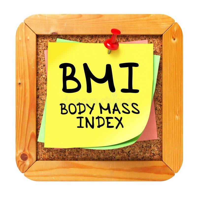 BMI. Gelber Aufkleber auf Bulletin. lizenzfreie stockbilder