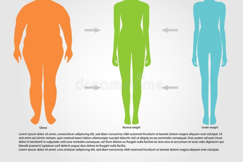 BMI, Illustration Frauenschattenbilder Weiblicher Körper mit unterschiedlichem Gewicht stock abbildung