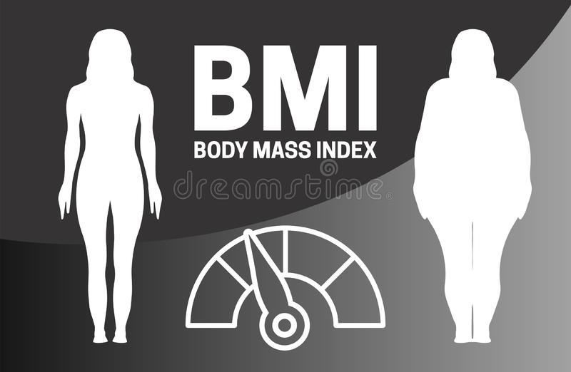 BMI Infographic Vector Illustration with Woman Silhouette royalty free illustration