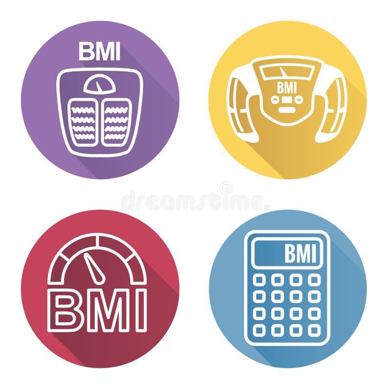 BMI lub ciała msza wskaźnika ikony ilustracji