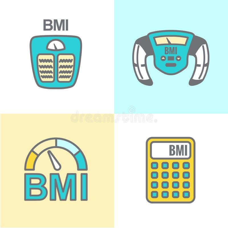 BMI ou ícones do índice de massa corporal ilustração stock