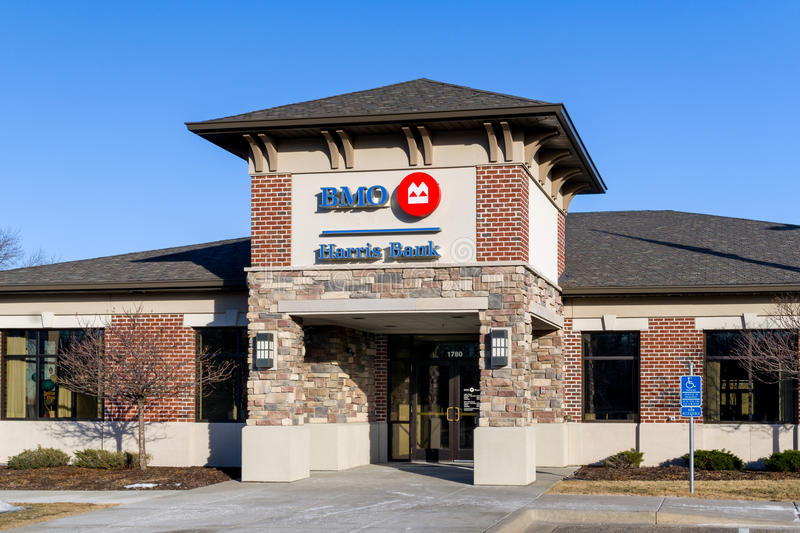 BMO Harris Bank Exterior Sign and Logo. ROSEVILLE, MN/USA - FEBRUARY 5, 2017: BMO Harris Bank exterior sign and logo. BMO Harris Bank, N.A. is a United States royalty free stock photo