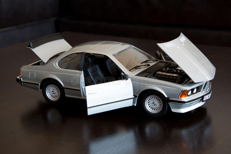 BMV 635csi scale model 1:18, manufacturer Anson. Shooting of a BMW scale model 1:18 limousine BMW series 6, model with 6 cylinders; scale model is standing on a royalty free stock image