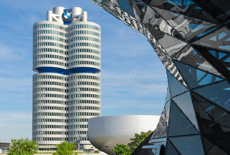 BMW四缸塔慕尼黑世界总部 库存照片