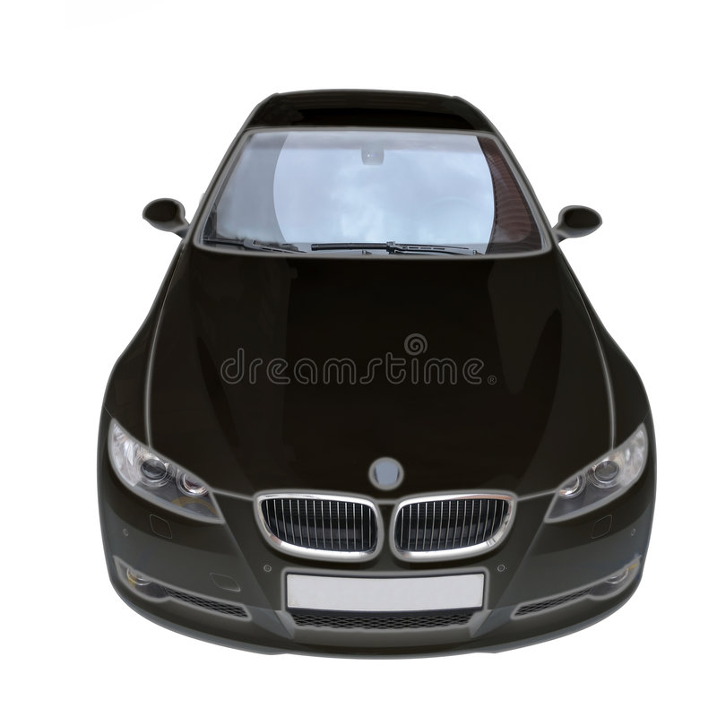 BMW 335i black convertible car. A black BMW 335i convertible sports car royalty free stock photo