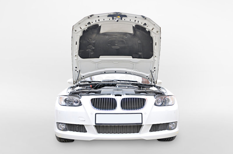 BMW 335i Bonnet open. A white BMW 335i convertible sports car's front open isolated royalty free stock images