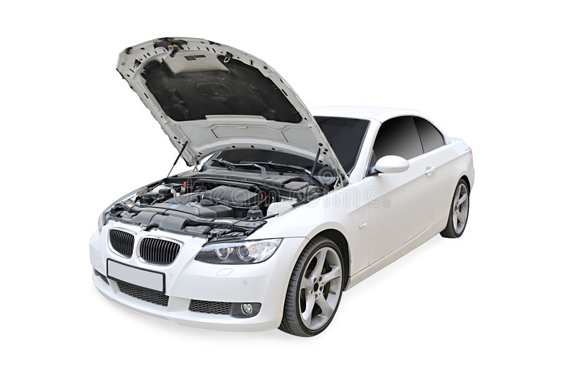 BMW 335i Bonnet open isolated. A white BMW 335i convertible sports car's front open isolated on white - side view royalty free stock image