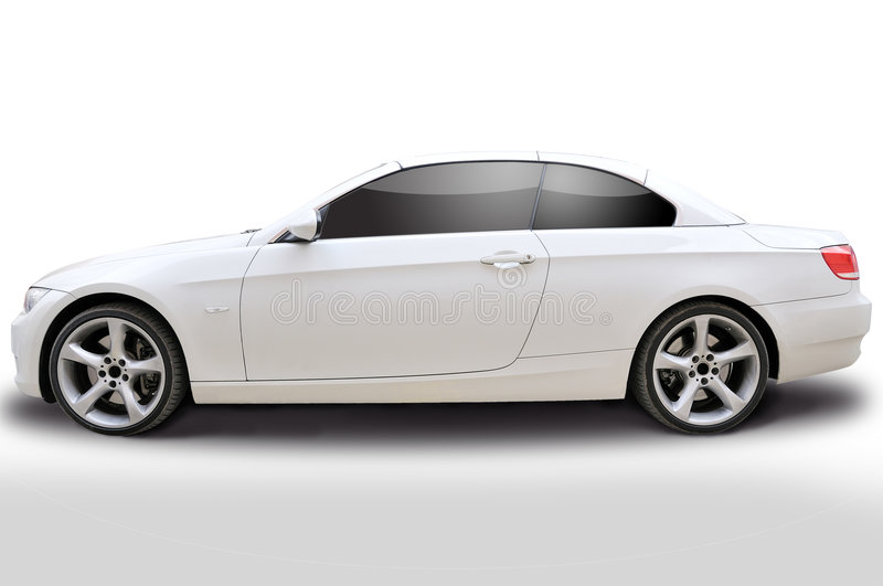 BMW 335i convertible car. Side view of BMW 335i convertible sports car - White royalty free stock photography