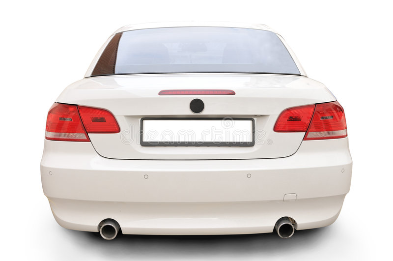 BMW 335i convertible car back. A white BMW 335i convertible sports car's back stock photography