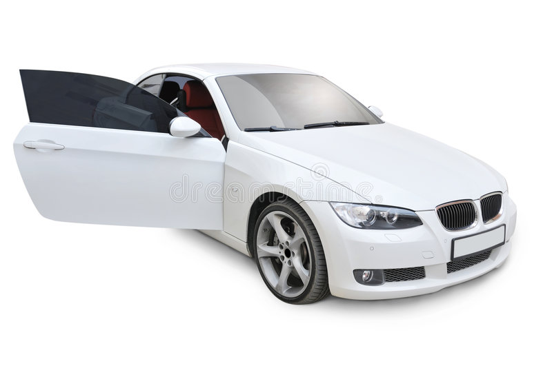 BMW 335i right door open. A white BMW 335i convertible sports car's right door open position stock image
