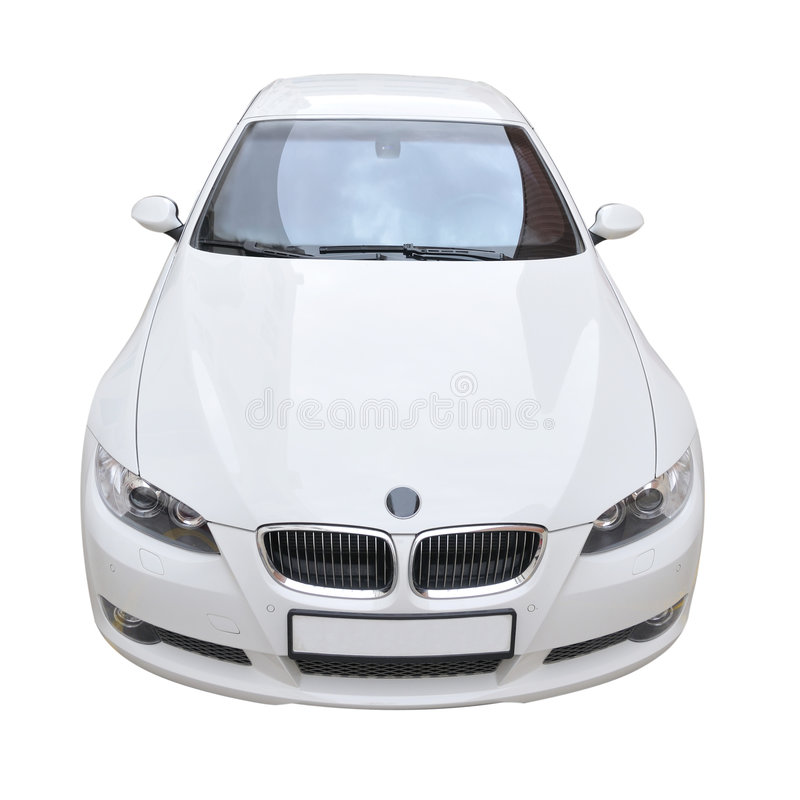 BMW 335i white convertible car. A white BMW 335i convertible sports car stock photo