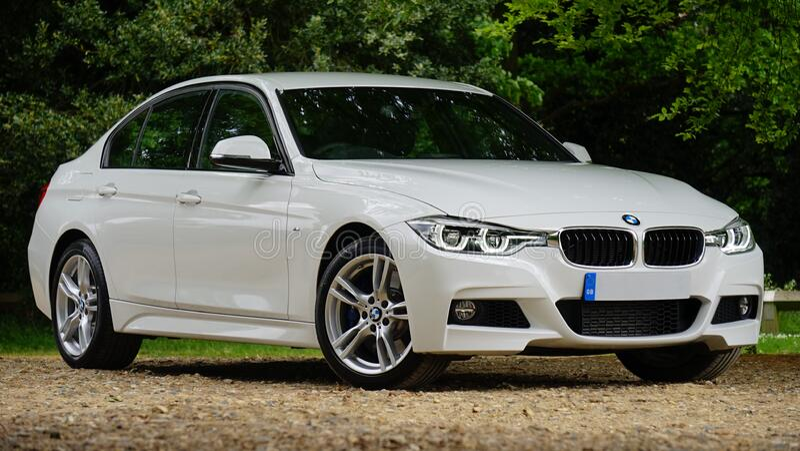 白色BMW汽车 免版税库存照片