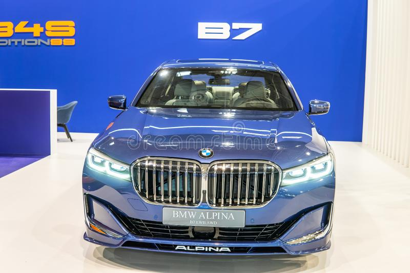 BMW ALPINA B7 BITURBO, Alpina Burkard Bovensiepen GmbH develops and sells high-performance versions of BMW cars stock images