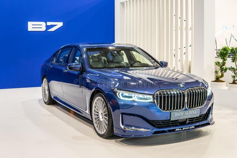 BMW ALPINA B7 BITURBO, Alpina Burkard Bovensiepen ГмбХ начинает и продает высокопроизводительные версии автомобилей BMW стоковое фото