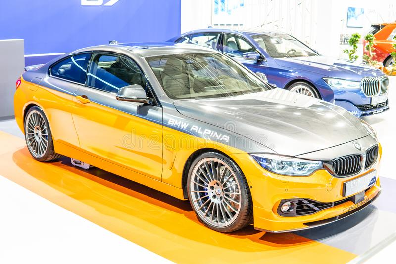 BMW ALPINA B4 S BITURBO Edition99, Alpina Burkard Bovensiepen Gmbh ontwikkelt en verkoopt krachtige versies van BMW-auto's stock fotografie