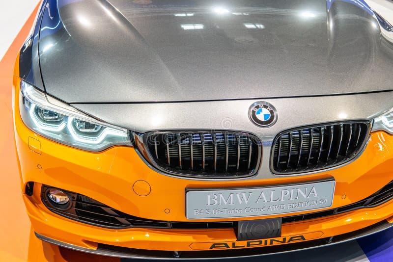 BMW ALPINA B4 S BITURBO Edition99, Alpina Burkard Bovensiepen Gmbh ontwikkelt en verkoopt krachtige versies van BMW-auto's royalty-vrije stock foto