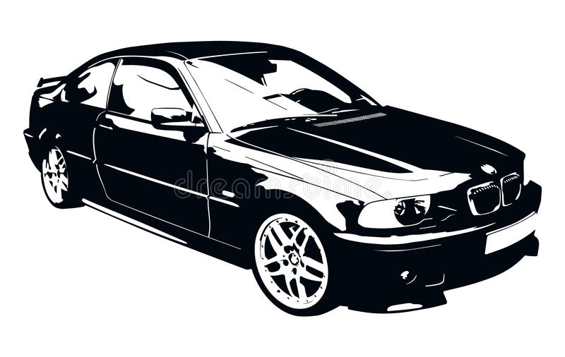 BMW Black and White Car vector illustration