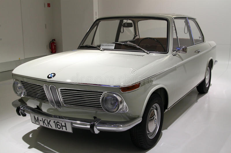 BMW 1600, BMW classic car. BMW 1600, a white BMW classic car, display at BMW Museum, Munich Germany royalty free stock image