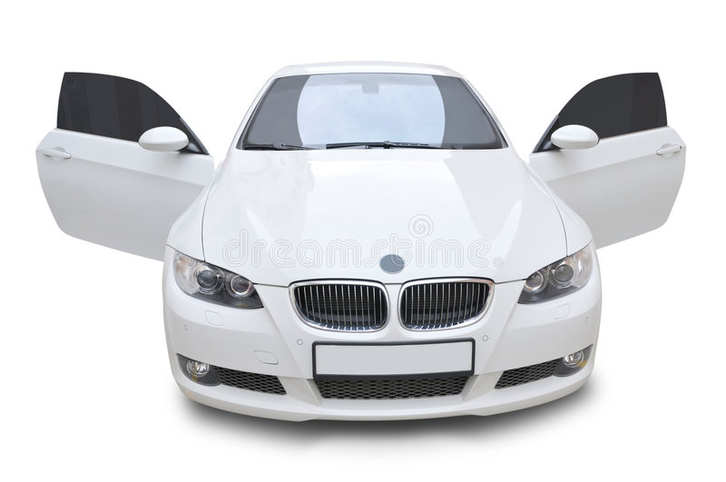 BMW car 335i convertible - doors open. A white BMW 335i convertible sports car - doors are in open position, isolated on white royalty free stock photo