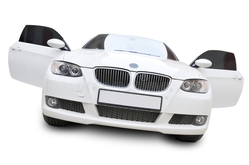 BMW car front doors open. A white BMW 335i convertible sports car with tinted windshield - doors are in open position, isolated on white stock photos