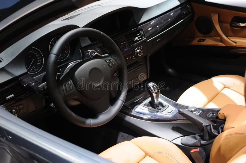 Bmw Car interior. Interior of new luxury sports car royalty free stock image