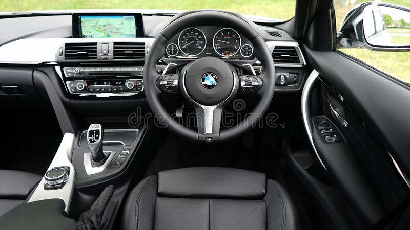 BMW car interior stock photo