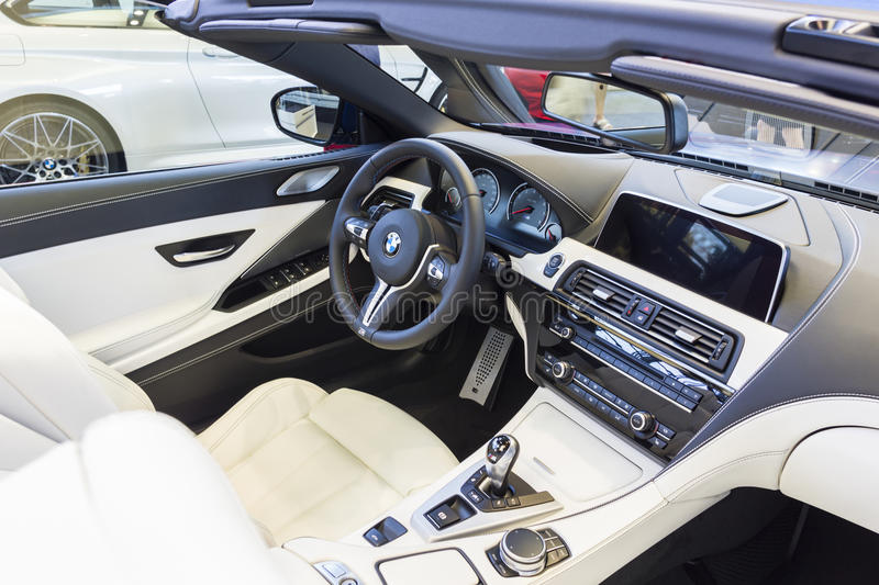 BMW car interior. Modern luxury sport car interior, exhibition in BMW welt Munich royalty free stock image