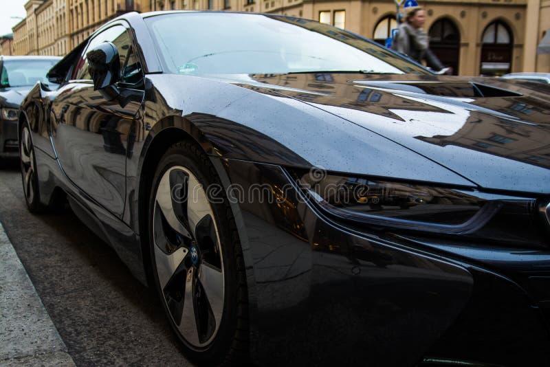 BMW Car Sidewalk Street Munich Germany royalty free stock photo