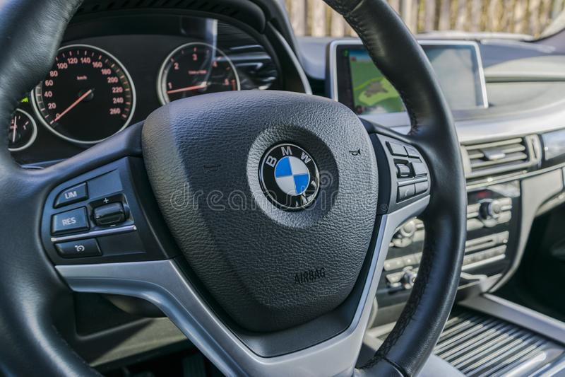 bmw x5 2018 close up of steering wheel and dashboard modern car interior details car detailing. Black Bedroom Furniture Sets. Home Design Ideas