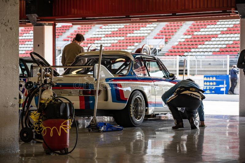 3 bmw (0) CSL w montjuic spirytusowego Barcelona obwodu samochodowym przedstawieniu fotografia stock