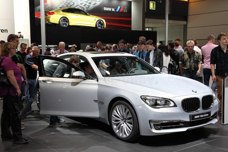 BMW 740d xDrive at the AMI. Leipzig, Germany royalty free stock photo