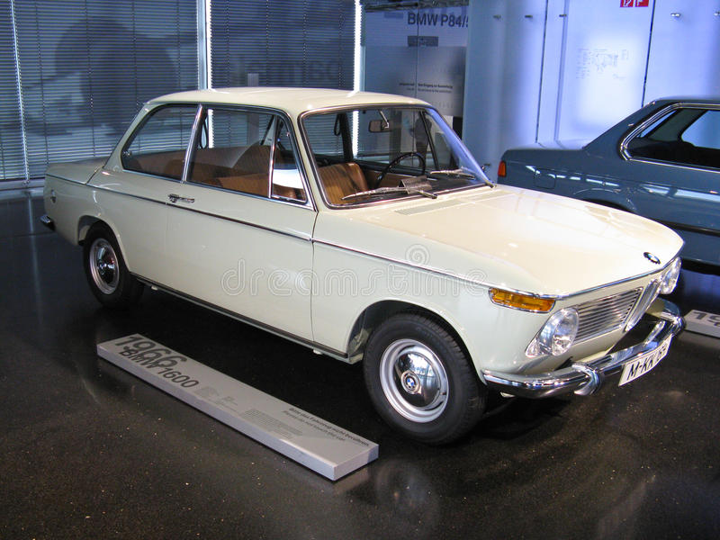 1966 BMW 1600. A 1966 BMW 1600 exposed in the factory museum in Munchen. Introduced in the market in 1962, the New Class series included small sedans with stock photo