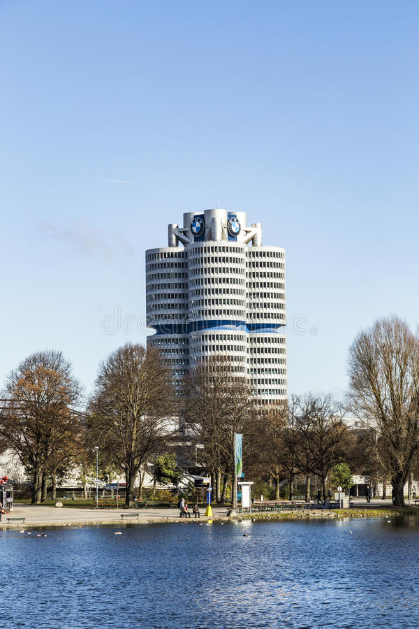 BMW four-cylinder tower in Munich. MUNICH, GERMANY - NOV 28, 2016: BMW four-cylinder tower in Munich stock image