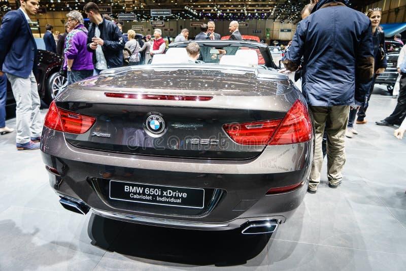 BMW 650i kabrioletu xDrive jednostka, Motorowy przedstawienie Genewa 2015 obraz stock