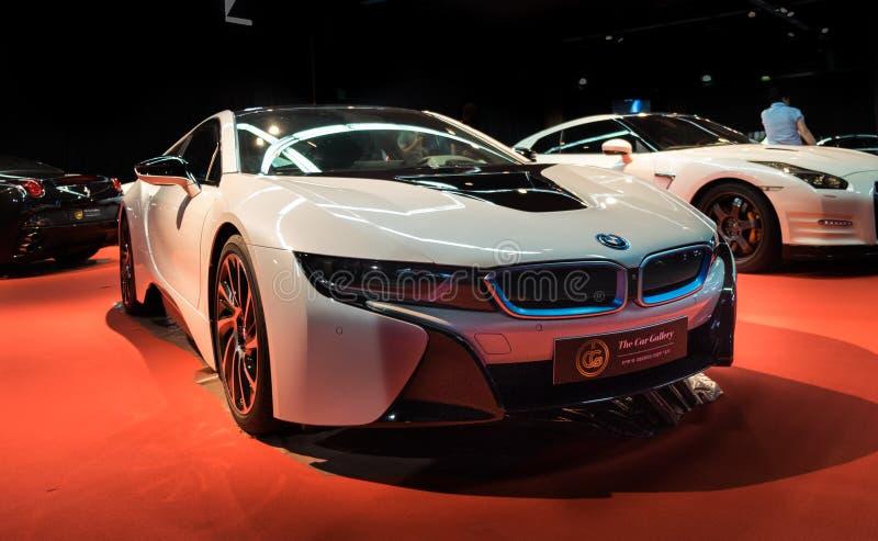 BMW i8 2017 przedstawiający na Tel Aviv Motorowym przedstawieniu zdjęcie stock