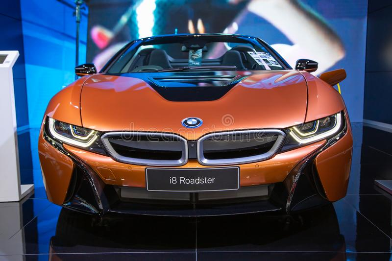 BMW i8 Roadster. Nonthaburi, Thailand - April 3, 2019: BMW i8 Roadster presented in Motor Show 2019 royalty free stock images