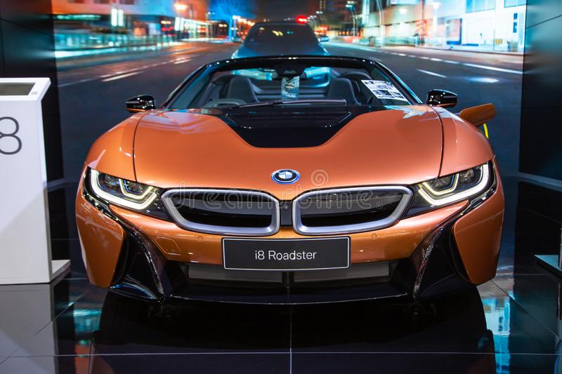BMW i8 Roadster. Nonthaburi, Thailand - April 3, 2019: BMW i8 Roadster presented in Motor Show 2019 stock photos