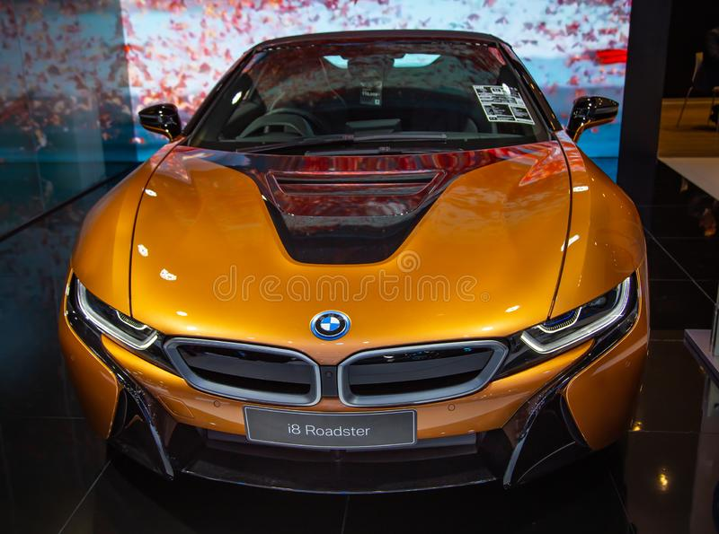 BMW i8 Roadster. Nonthaburi, Thailand - December 4, 2018: BMW i8 Roadster presented in Motor Expo 2018 royalty free stock photos