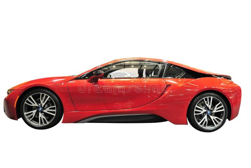 BMW I8 sportów samochód Odizolowywający obrazy royalty free