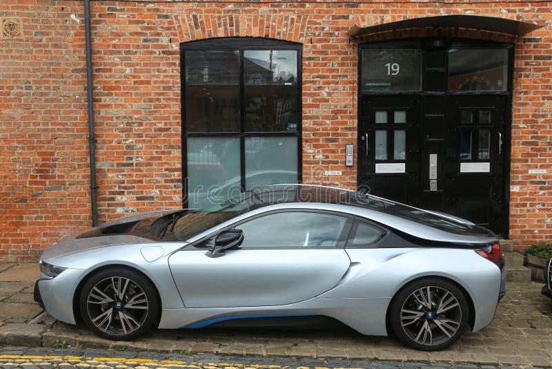 BMW i8 sportbil royaltyfri bild