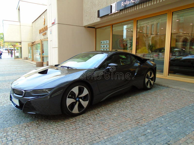Bmw I8 On The Street, Black Color And Red Background, Prague, Czech  Republic, Europe 12.4.2017