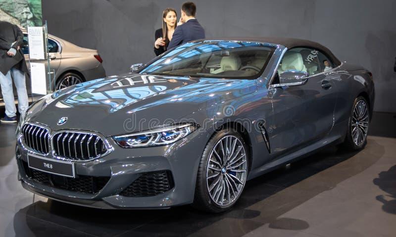 BMW i 8 sul cinquantaquattresimo salone dell'automobile internazionale dell'automobile e di Belgrado fotografie stock libere da diritti