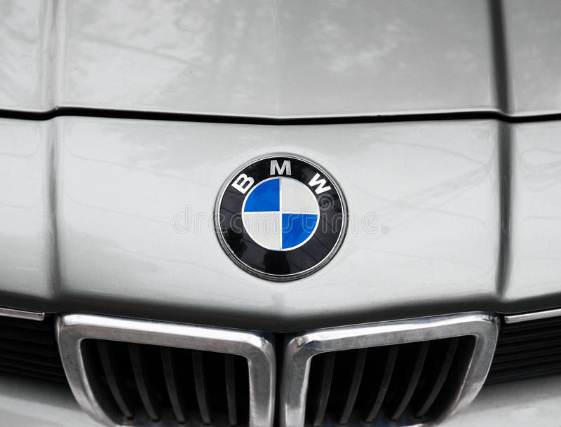 BMW logo. MOSCOW, RUSSIA - May 21, 2017. BMW logo on vintage car royalty free stock photos
