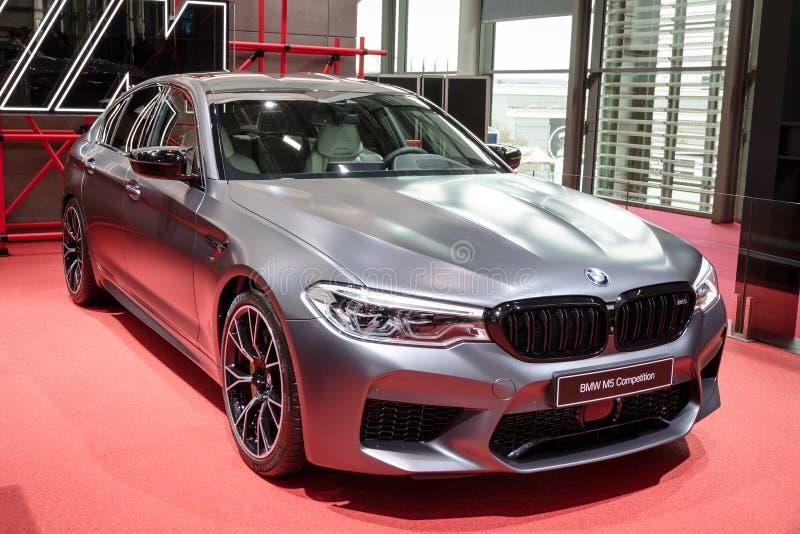 BMW M5 Competition car. PARIS - OCT 2, 2018: BMW M5 Competition car showcased at the Paris Motor Show stock images