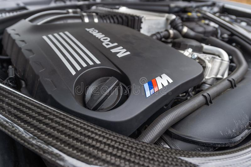 BMW M2 Competition engine. In Prague, Czech Republic, January 16, 2019 stock photos