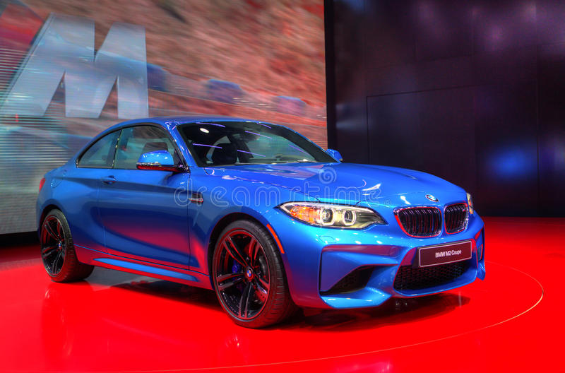 BMW M2 Coupe Isolated. HDR image of a BMW M2 Coupe at the 2016 Detroit Auto Show royalty free stock photo