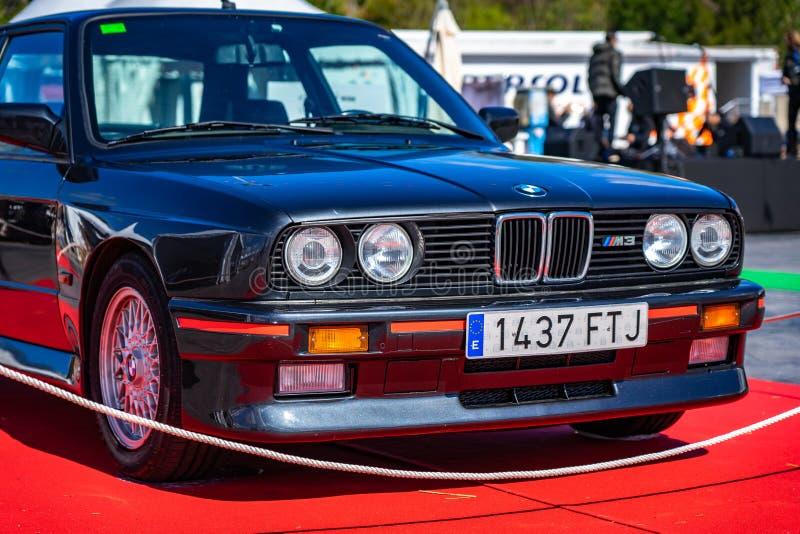 BMW M3 E30 in montjuic de kringsauto van geestbarcelona toont royalty-vrije stock fotografie