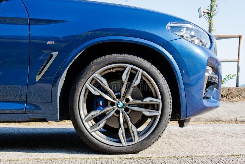 BMW X3 M40i 2018 Wheel. Hong Kong, China Jan 11, 2018 : BMW X3 M40i 2018 Wheel Jan 11 2018 in Hong Kong royalty free stock photo