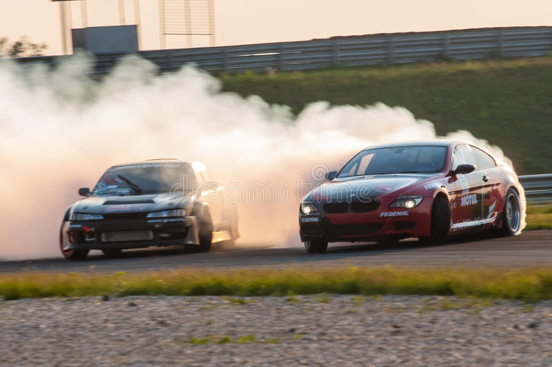 BMW M6 & Nissan Silvia drift cars stock images