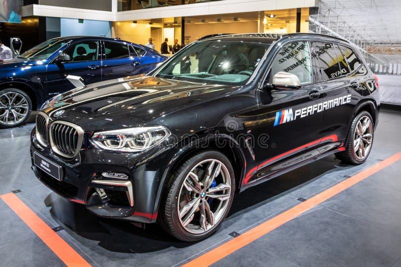 Автомобиль BMW X3 M Performance. Брюссель-10 января 2018 года: автомобиль BMW X3 M Performance, представленный на автосалоне Brussels Expo Autosalon Motor show стоковая фотография